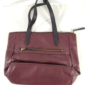 FOSSIL RED LEATHER TOTE BAG